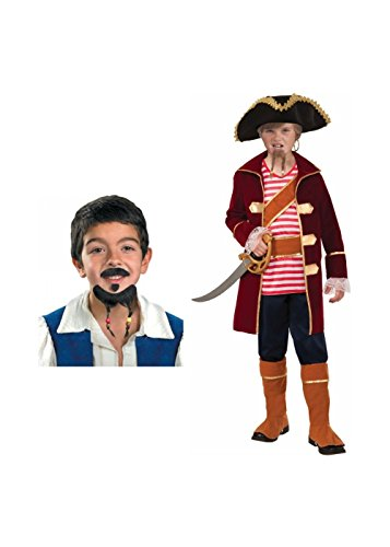 [Big Boys' Captain Scallywag Pirate Costume and Mustache and Goatee] (Scallywag Pirate Costume)