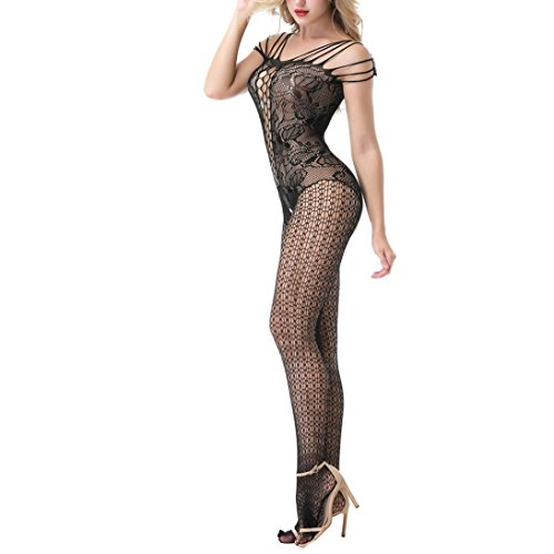 d212506a2d5 Amazon.com  Cywulin Women s Sexy Fishnet Crotchless Bodystocking Open  Crotch Strap Floral Stretch Lingerie Tights Babydoll Bodysuits (Black)   Clothing
