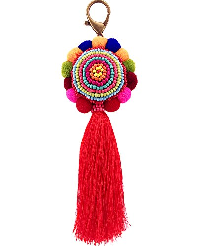(QTMY Big Pom Pom Beaded Tassel Boho Long Bag Pendant Charm Keyring Keychain for Women Purse Handbag)