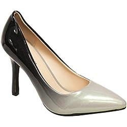 Heart's Zara-02 Women's point toe patent gradient color high heel stiletto pumps Grey 6.5