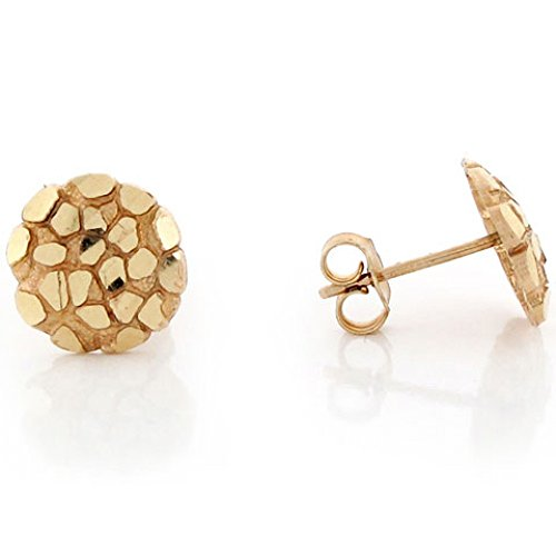 (14k Solid Yellow Gold 1.0cm Nugget Pin Earrings)