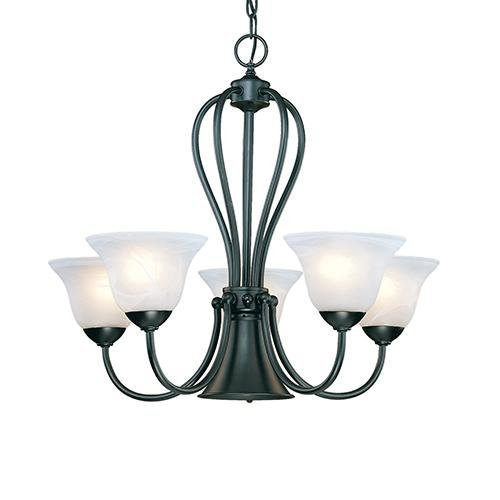 (Millennium Six Light 76-BK Five Light Up Chandelier with Black Finish)