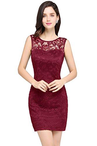 Babyonlinedress Sleeveless short lace cocktail dress,Burgundy,12