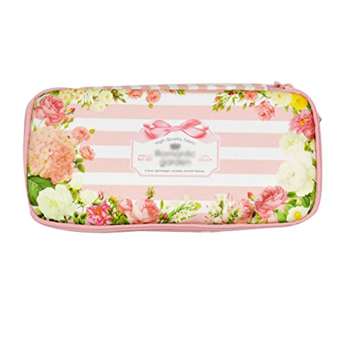 Clara Floral Stripes Printing Double-Deck Pencil Case Students Pencil Holder Stationary Case School Supplies Girls Pencil Bag(Pink) (Box Double Deck Pencil)