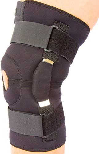 Hinged Adjustable neoprene knee support brace with Unique multi strap design and open patella By BODY-TEC (Large...