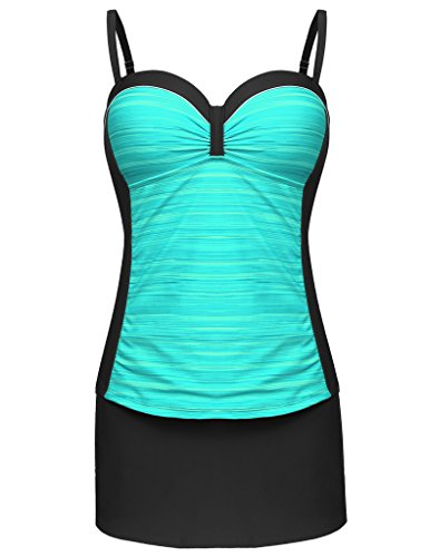 Piece Skirted 2 Tankini (Sportshe Women Two Piece Tankini Push up Underwire Tankini Top Skirt Bottom Swimsuit)