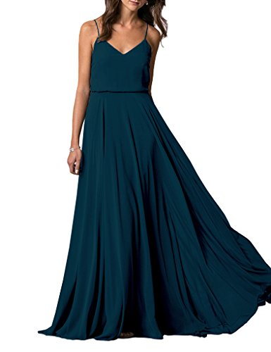 Lafee Bridal V-Neck Spaghetti Straps Long Chiffon Beach Wedding Bridesmaid Dress Teal Size 12