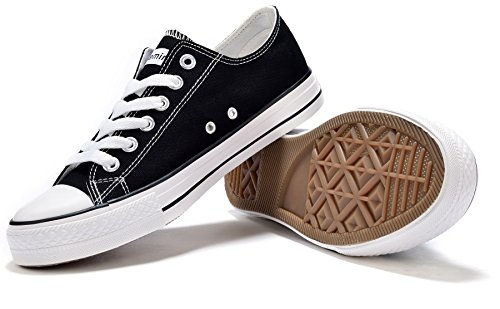 Unisex Adults CVS Comfort School Fashion Exclusive Urban Street Goth Style Basketball Lowtop Low Top Canvas Sneakers Trainers All Star Chuck Shoes for Mens Guys Ladies Womans 41 US Size 8 Black