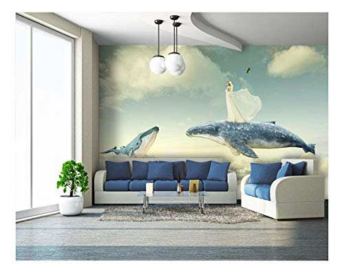 Large Wall Mural Fantasy Series Girl and Flying Whales Above The Clouds Vinyl Wallpaper Removable Wall Decor