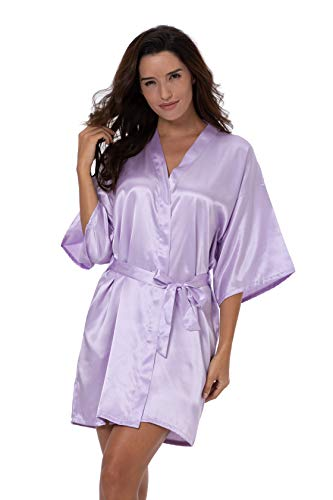 ShinyLuck Women's Satin Short Kimono Robe Solid Color Dressing Gown Bridal Party Robe (X-Large, Light Purple) - Light Coffee Satin