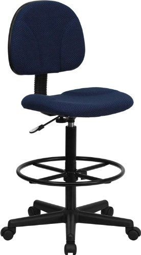 Flash Furniture Navy Blue Patterned Fabric Drafting Chair (Cylinders: 22.5''-27''H or 26''-30.5''H) - BT-659-NVY-GG