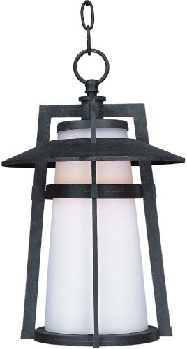 Maxim 85439SWAE Calistoga EE 1-Light Outdoor Hanging, Adobe Finish, Satin White Glass, GU24 Fluorescent Fluorescent Bulb , 13W Max., Wet Safety Rating, 2700K Color Temp, Glass Shade Material, 1800 Rated Lumens