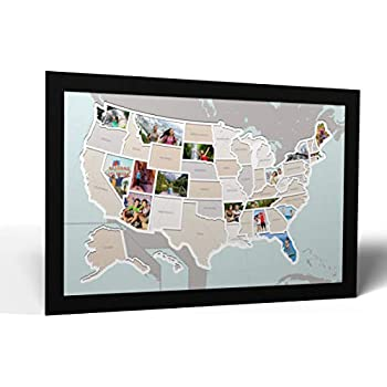 Thunder Bunny Labs 50 States USA Photo Map - Frame Optional - Made in America (Printed Map, Black Frame)