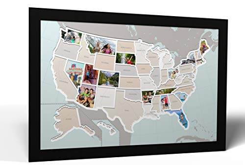 Thunder Bunny Labs 50 States USA Photo Map - Frame Optional - Made in America (Printed Map, Black Frame) (Map Pictures)