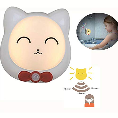 (Abcty LED Night Light Motion Sensor,USB Rechargeable Battery Powered LED Light Cat Wireless Human Body Induction Lamp Safe Decorative(Flexible Yellow a))