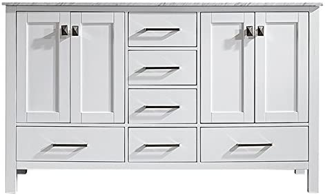 Vinnova 723060-WH-CA-NM Gela 60″ Double Vanity Carrera White Marble Top Without Mirror
