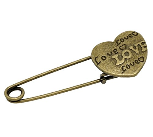 GUAngqi 10 Bronze Tone Love Heart Safety Pins Brooches 54x19mm