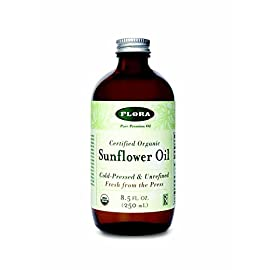 Sunflower Oil-Organic Flora Inc 8.5 oz Liquid 5 HIGH QUALITY: Our organically certified product is Non GMO, Gluten Free, vegan, and kosher. This product is sure to be an essential culinary oil in your kitchen. OUR COLD PRESS PROCESS: This unique blend begins by patiently grinding sunflower seeds with traditional presses. To maintain peak nutritional value and prevent oxidation, we don't use any heat to create an unfiltered and unrefined oil that maintains the integrity of the flavor. This unique method helps to retain the original richness while providing omega 6 and 9 HEALTHY: Each batch contains naturally occurring omega fatty acids, Vitamin E, Vitamin K, beta-carotene and antioxidants to promote healthier skin by ridding the body of acne-causing bacteria and reducing fine lines. This nutrient dense oil also helps natural hair growth and soothes skin irritations due to its anti-inflammatory properties.*