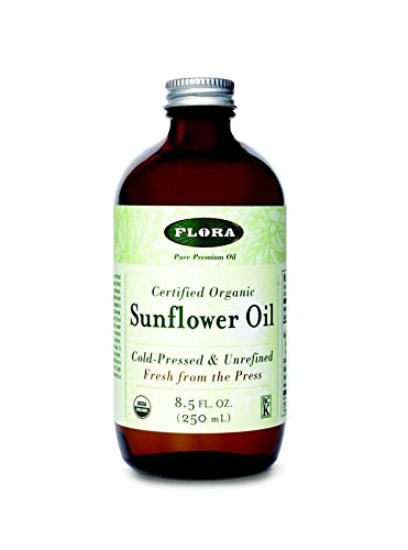 Sunflower Oil-Organic Flora Inc 8.5 oz Liquid 1 Natural sunflower seed oil, cold-pressed and unrefined has a light yellow to rich golden color, depending on the seed, and tastes pleasant and nutty. Slight cloudiness of unrefined sunflower seed oil is a sign of high quality. Use Flora Sunflower Oil cold in salad dressings and mayonnaise. It can also be used for light stir-frying, sautéing and baking. Flora Sunflower Oil contains: 64% polyunsaturated Linoleic acid (omega- 6), 21% monounsaturated Oleic acid (omega-9), 11% saturated fatty acids.