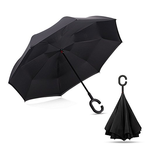 Aaronam Valentine's Day Sales Windproof UV Protection Reverse Umbrella Self Standing Double Layer Quick Dry Umbrella C-Shaped Handle Hands Free Umbrella for Outdoor Travel Car (Black)
