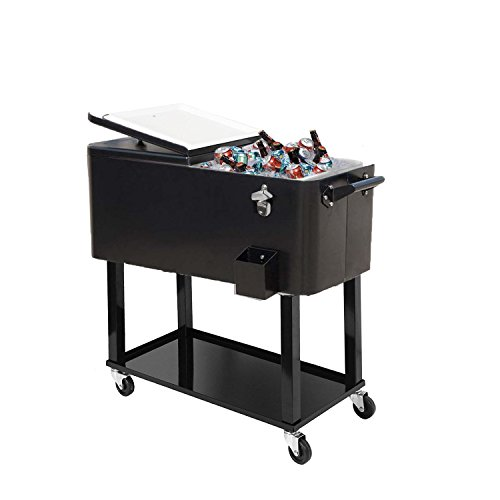 Lowest Price! 80-quart Portable Rolling Ice Chest Cooler Cart Patio Party Drink Ice (Black)