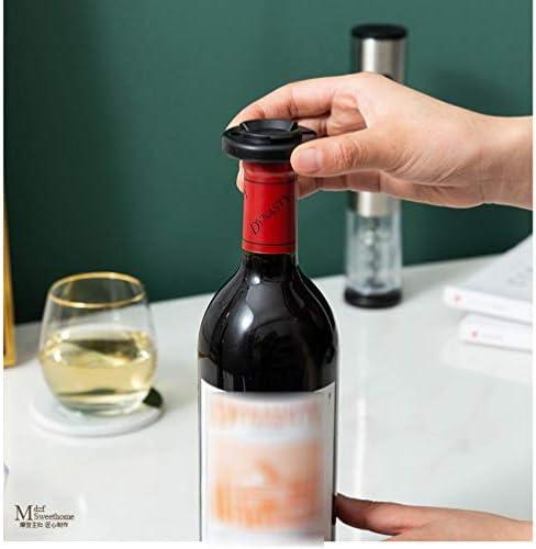 電気ワインオープナーステンレススチールワインセットワインスクリュードライバーセットワインボトルオープナー家庭用充電式、ブラックボトルオープナー