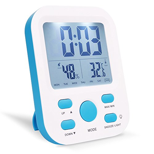 Price comparison product image Alarm Clock,  Warmhoming Digital Clock with Temperature and Humidity (Blue)