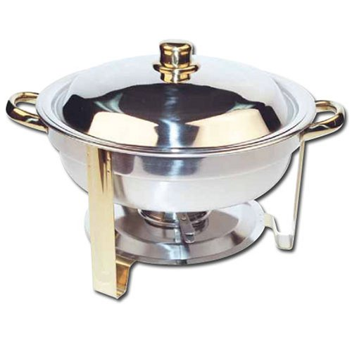 Winco Winware 4 Quart Round Stainless Steel Gold Accented Chafer by Winco