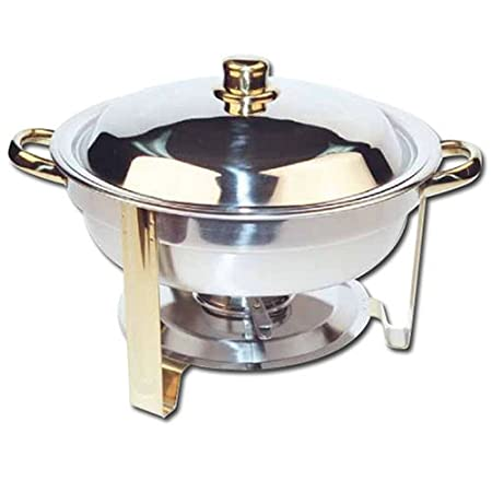 Winco Winware 4 Quart Round Stainless Steel Gold Accented Chafer Winco USA 203