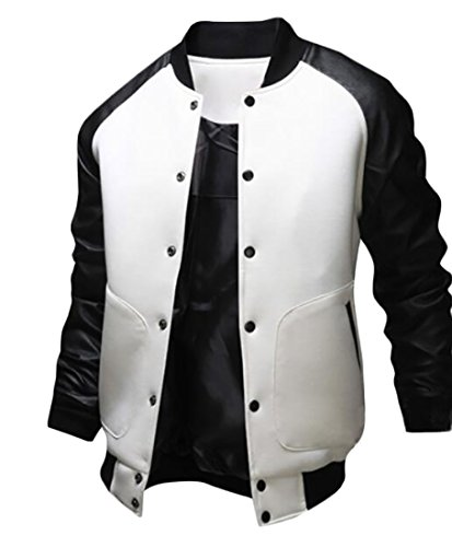 Fashion Patchwork Jackets GRMO Stand Men's Collar Coats White Button Front Fww5xqY