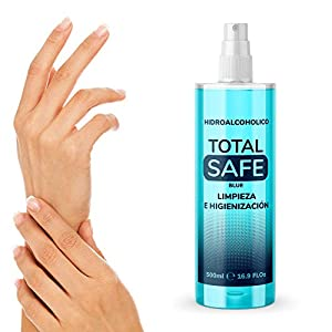 Total Safe 500ml Spray | Ideal para una higiene profunda de manos - Hidroalcoholico Liquido envase con Aerosol Blue 10
