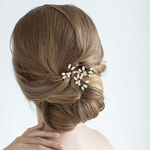 Jovono Bride Wedding Hair Pins Crystal Hair Accessories Pearl Hair Clips Gold Headpiece for Women and Girls(Pack of 3)