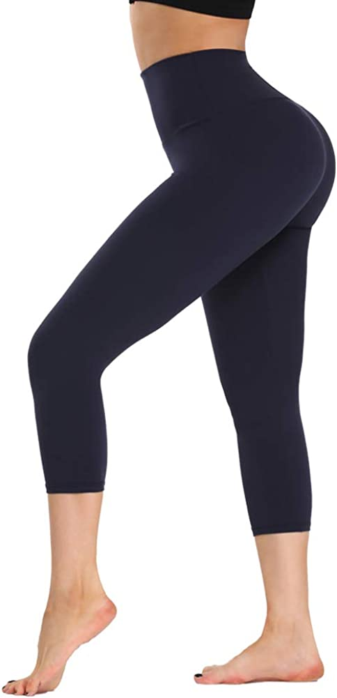 ZOOSIXX High Waisted Soft Capri Leggings for Women-Tummy Control and Elastic Opaque Slimming Reg/Plus Size: Clothing