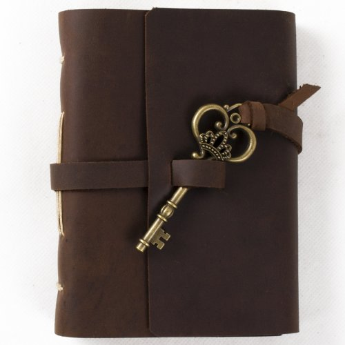 Handmade Blank - Ancicraft Leather Journal Diary Notebook A6 with Key by Handmade Blank Craft Paper with Gift Box (A6-Key-Blank craft paper)