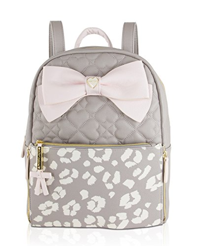 Betsey Johnson Bow Zip Off Pouch Medium Travel School Backpack Tote Bag - (Signature Medium Wallet)