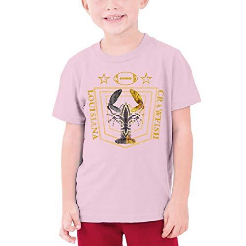 YUNLIHO Funny Design Louisiana Crawfish Football Team Logo Shirt Short Sleeve for Hobbledehoy Pink S