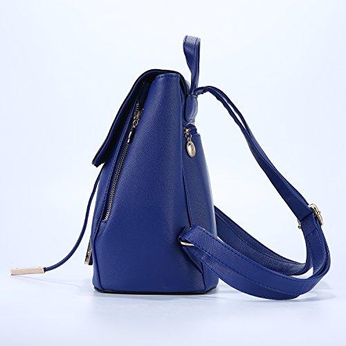 niceEshop(TM) Bolso de Escuela de la PU de Cuero Mochila de Hombro de Mujer , Beige Azul Oscuro