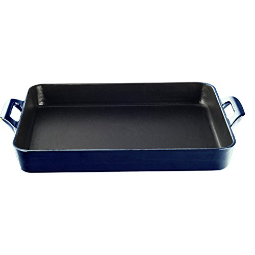 La Cuisine LC 8170 1 Piece Shallow Cast Iron Roasting Pan with Enamel Finish, Ultramarine Blue by La Cuisine