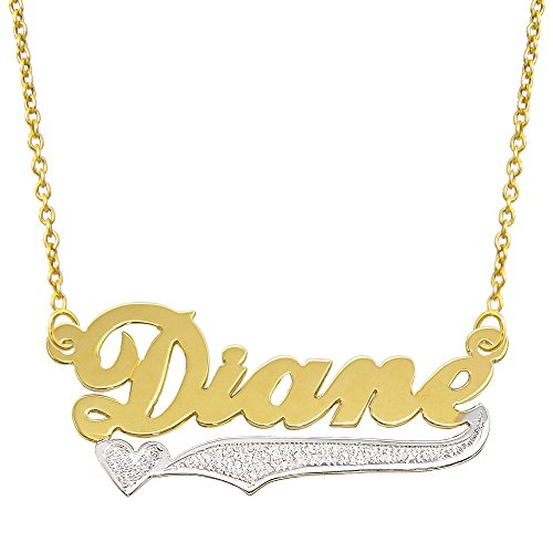 Tone Gold Plate (14K Two Tone Gold Personalized Name Plate Necklace - Style 9 (18 Inches, Round Rolo)