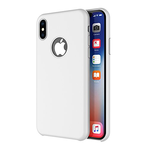 iPhone X/iPhone Xs Case, Arteck Liquid Silicon Rubber iPhone Xs (2018) iPhone X (2017) 5.8 inch Shockproof Case with Soft Microfiber Cloth Cushion - White