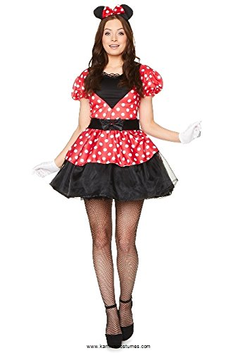 Miss Mouse Costume Set - Halloween Womens Red White Polka Dot Dress, Large