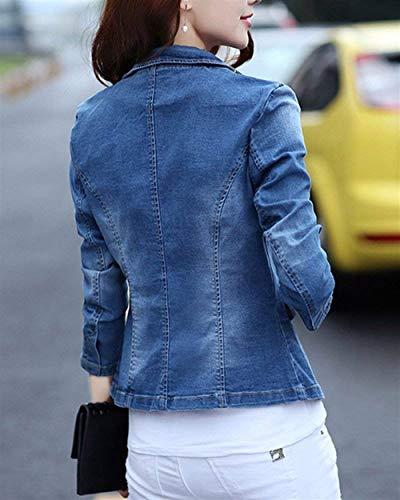 Lunga Autunno Donna Grazioso Casual Slim Giacche Stlie Bavero Modern Outwear Anteriori Aspicture Tasche Stile Lanceyy Corto Cappotto Button Jeans Fit Manica gqwExp6t