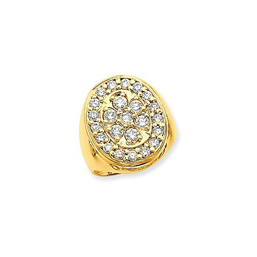 14k Fancy Polished Circular To Mens Diamond Ring Mounting - Base Only, No (Diamond Fancy Ring Mounting)