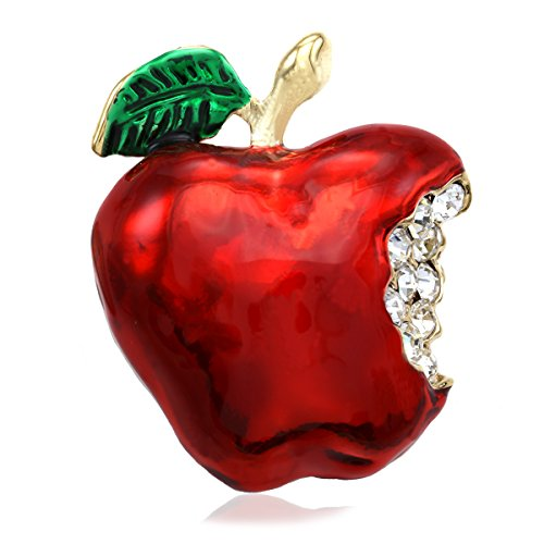 Pin Brooch Teacher - Soulbreezecollection Red Teacher's Apple Fruit Brooch Pin Clear Rhinetones Enamel Fashion Jewelry
