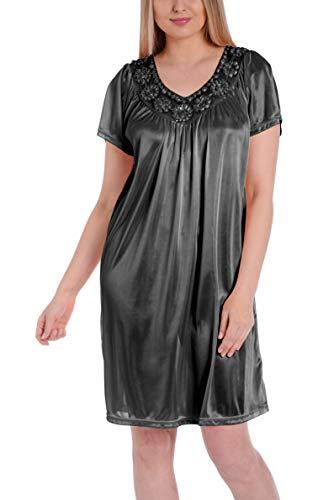 Ezi Women's Satin Silk Short Sleeve Sequins Nightgown,Black,L