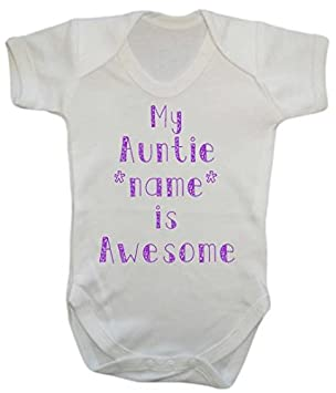 cac9ec181 My Auntie Name is Awesome Baby Grow Vest Personalised bodysuit onesie:  Amazon.co.uk: Baby
