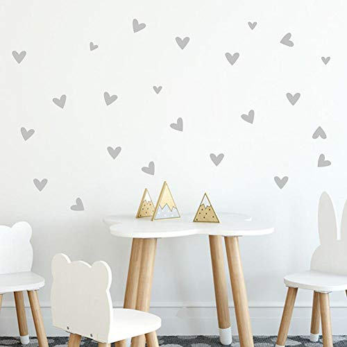 Price comparison product image Oldeagle Wall Sticker,  22PCs Love Heart Vinyl Art Mural Home Room Decals Decor For Kids Room Bedroom Living Room (Grey)
