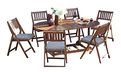 Outdoor Interiors S10555 7-Piece Fold and Store Table Set, Eucalyptus, All Wood