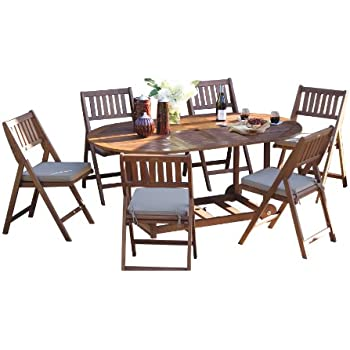 This item Outdoor Interiors S10555 7-Piece Fold and Store Table Set,  Eucalyptus, All Wood
