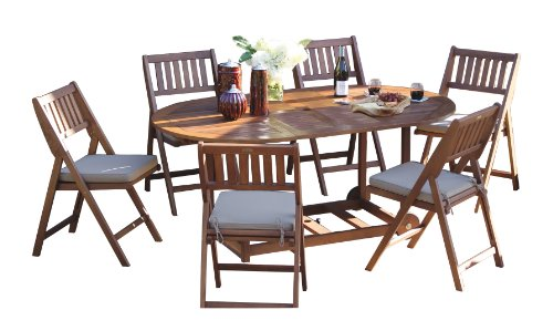 Outdoor Interiors S10555 7-Piece Fold and Store Table Set, Eucalyptus, (Oval Set Folding Chair)